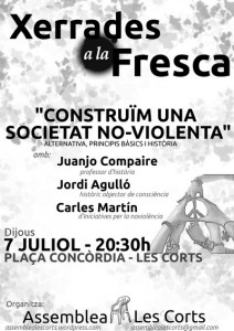 """Cartell xerrada: """"Construïm una societat no-violenta"""""""